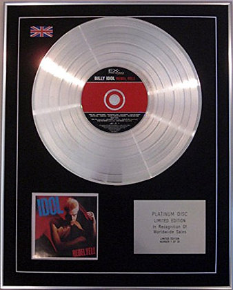 BILLY IDOL - Limited Edition CD Platinum Disc - REBEL YELL