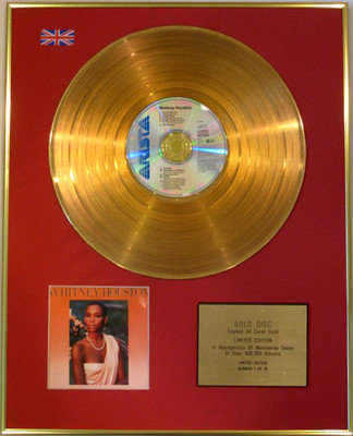 "WHITNEY HOUSTON - Limited Edition 24 Carat CD Gold Disc - ""WHITNEY HOUSTON"""