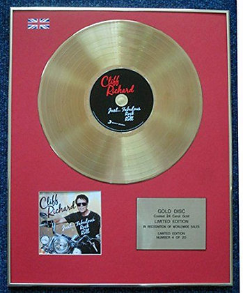Cliff Richard - Limited Edition CD 24 Carat Gold Coated LP Disc - Just... Fab�