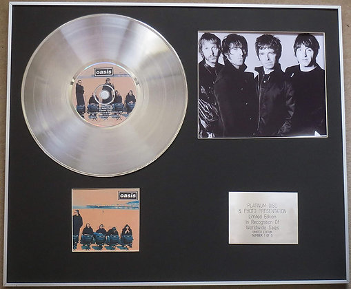 OASIS - Platinum Disc CD Single + Photo - ROLL WITH IT