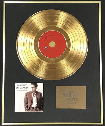 Donny Osmond - Exclusive Limited Edition 24 Carat Gold Disc - Somewhere In Time