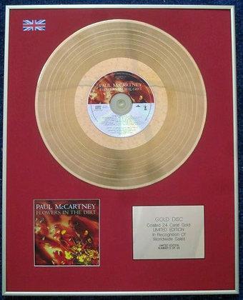 PAUL McCARTNEY - CD 24 Carat Gold Coated LP Disc - FLOWERS IN THE DIRT