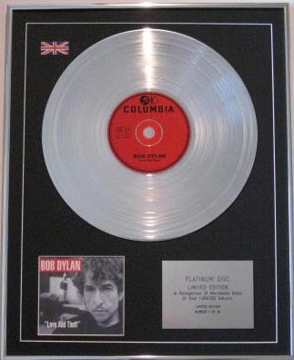 BOB DYLAN- CD Platinum Disc- LOVE AND THEFT
