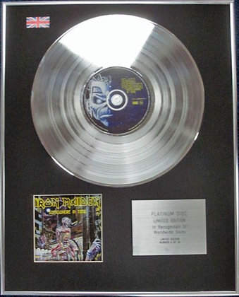 IRON MAIDEN - Limited Edition CD Platinum Disc - SOMEWHERE IN TIME