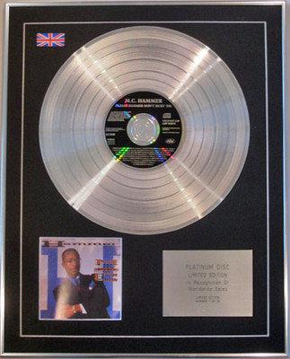 M.C. HAMMER  - Limited Edition CD Platinum Disc - PLEASE HAMMER DON'T HURT EM