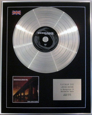 NICKELBACK - Limited Edition CD Platinum Disc- THE LONG ROAD