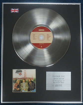 America - Limited Edition CD Platinum LP Disc - Hearts