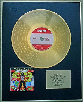 PETER TOSH - Exclusive Limited Edition 24 Carat Gold Disc - NO NUCLEAR WAR