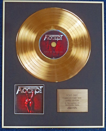 ACCEPT - Limited Edition CD 24 Carat Gold Coated LP Disc - BLOOD OF THE NATIONS