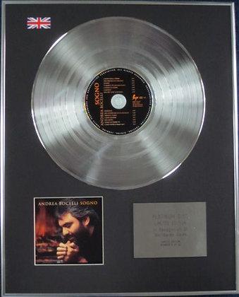 ANDREA BOCELLI - Limited Edition CD Platinum Disc - SOGNO