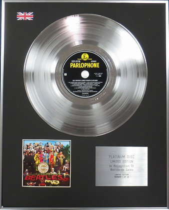 THE BEATLES - Limited Edition CD Platinum Disc - SGT PEPPER