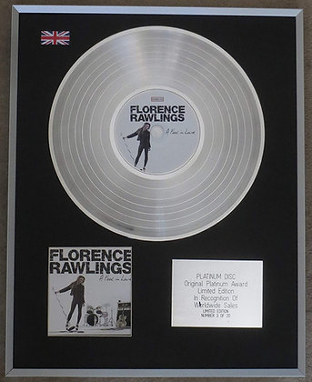 FLORENCE RAWLINGS- Limited Edition CD Platinum Disc - A FOOL IN LOVE