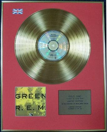R.E.M. - Ltd Edition CD 24 Carat Coated Gold Disc - GREEN