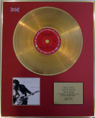 BRUCE SPRINGSTEEN - Limited Edition 24 Carat CD Gold Disc - BORN TO RUN