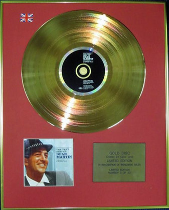 DEAN MARTIN - Ltd Edition CD 24 Carat Coated Gold Disc - THE VERY BEST OF