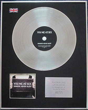 You Me At Six - Limited Edition CD Platinum LP Disc - Sinners Never Sleep