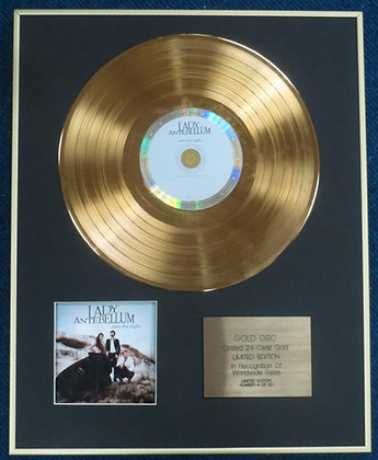 LADY ANTEBELLUM - CD 24 Carat Gold Coated LP Disc - OWN THE NIGHT