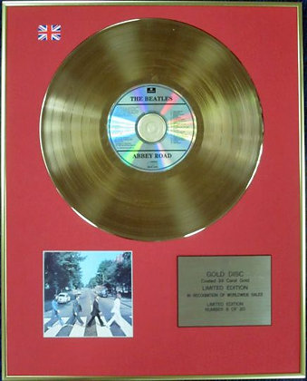 THE BEATLES - Ltd Edition CD 24 Carat Coated Gold Disc - ABBEY ROAD
