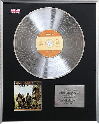 AMERICA - Limited Edition CD Platinum LP Disc - 'AMERICA'