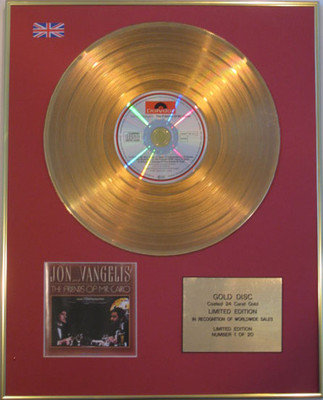 JON and VANGELIS - Limited Edition 24 Carat CD Gold Disc-THE FRIENDS OF MR CAIRO