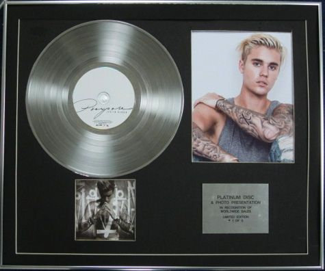 JUSTIN BIEBER - Limited Edition Platinum Disc + Photo - PURPOSE