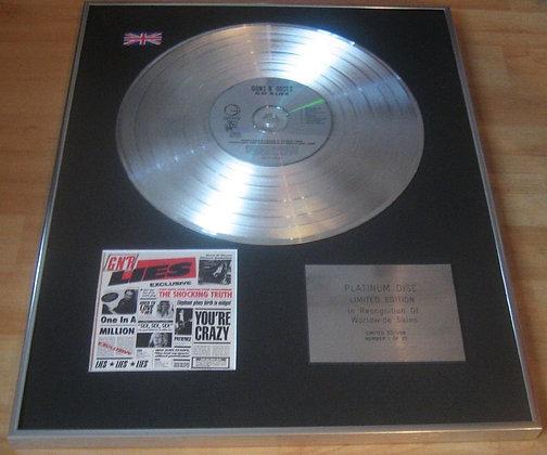 GUNS 'N' ROSES  - Limited Edition CD Platinum Disc - GNR LIES