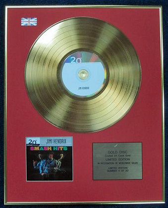 JIMI HENDRIX - Ltd Edition CD 24 Carat Coated Gold Disc -SMASH HITS