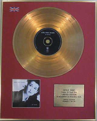 CELINE DION - Limited Edition CD 24 Carat Gold Disc - D'EUX