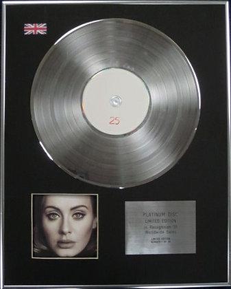 ADELE - Limited Edition CD Platinum Disc - 25