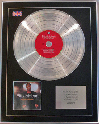 BITTY MCLEAN - Limited Edition CD Platinum Disc - JUST TO LET YOU KNOW
