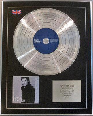 DAVID SNEDDON - Limited Edition CD Platinum Disc - SEVEN YEARS-TEN WEEKS