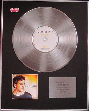 MATT CARDLE - Limited Edition CD Platinum Disc - THE FIRE