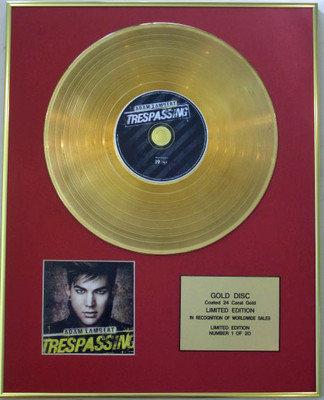 ADAM LAMBERT - Ltd Edtn 24 Carat CD Gold Disc - TRESPASSING