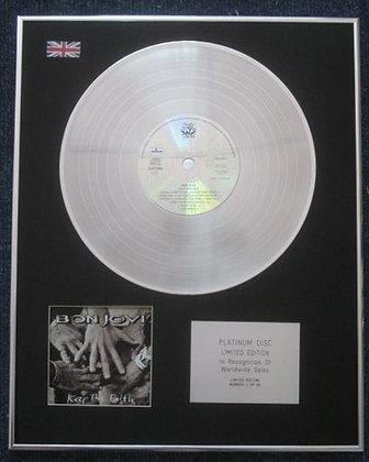 BON JOVI - Limited Edition CD Platinum LP Disc -KEEP THE FAITH