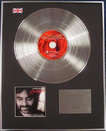 Andrea Bocelli - Limited Edition CD Platinum Disc - Sentimento