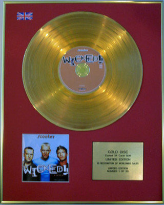 SCOOTER - Limited Edition 24 Carat CD Gold Disc - WICKED !