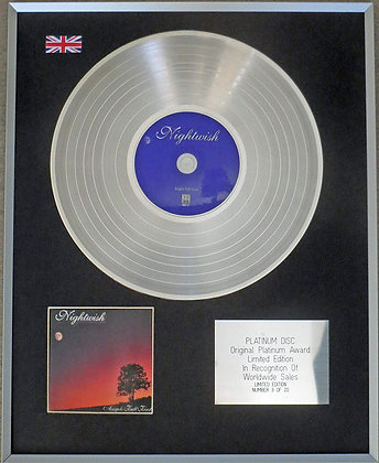 NIGHTWISH - Limited Edition CD Platinum Disc - ANGELS FALL FIRST