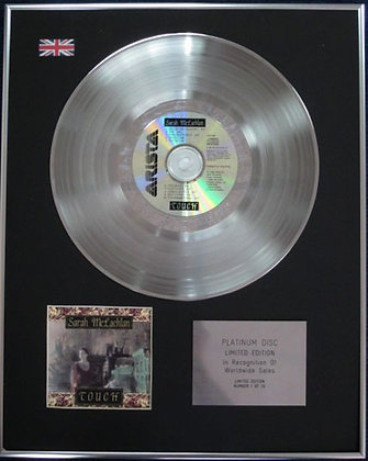 SARAH McLACHLAN - Limited Edition CD Platinum Disc -TOUCH