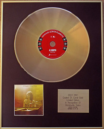AL KOOPER - Exclusive Limited Edition 24 Carat Gold Disc - NAKED SONGS