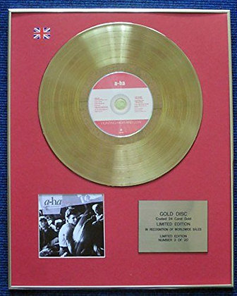 A-ha - Limited Edition CD 24 Carat Gold Coated LP Disc - Hunting High and Low