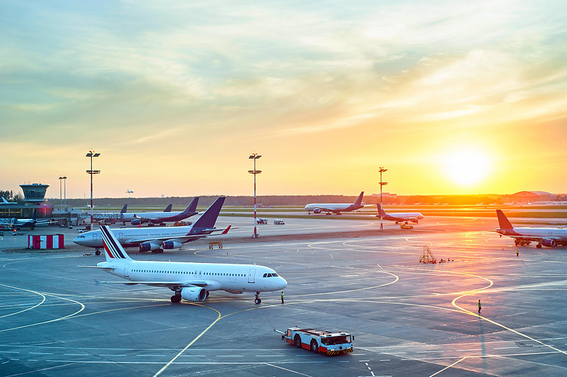 Airport with many airplanes at beautiful