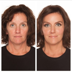 A simple winged eyeliner with dewy skin for mature clients.