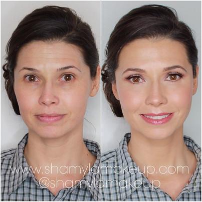 Natural radiant makeup look for bride here.
