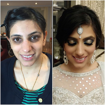 Indian bride with blue smokey eyes and a pop of shimmer.