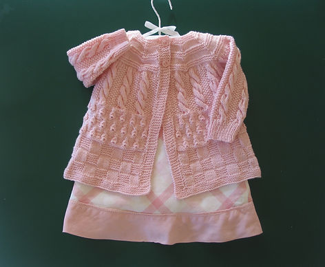 Baby Jacket handknitted in light pink Merino Wool