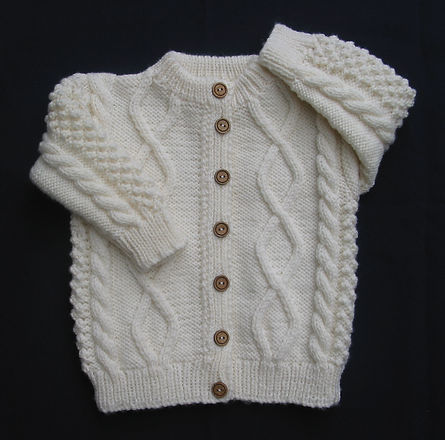 Baby Boys hand-knitted cable jacket using 100% Merino Wool