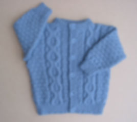 100% Merino wool baby boy's Jacket - colour medium blue