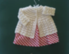 Baby Jacket hand knitted with natural organic Merino wool
