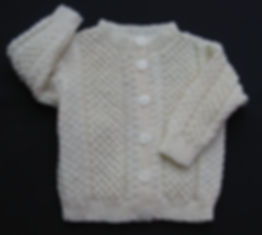 Merino wool baby girl's Cardigan hand-knitted in blackberry stitch
