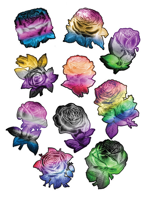 "3"" Glowing Pride Flower Stickers"